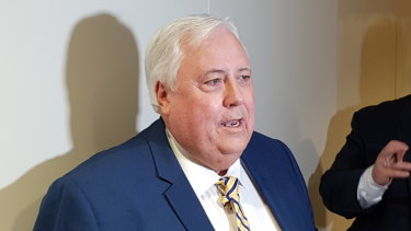 Clive Palmer speaks to media following the 2019 Queensland Senate Ballot draw in Brisbane.