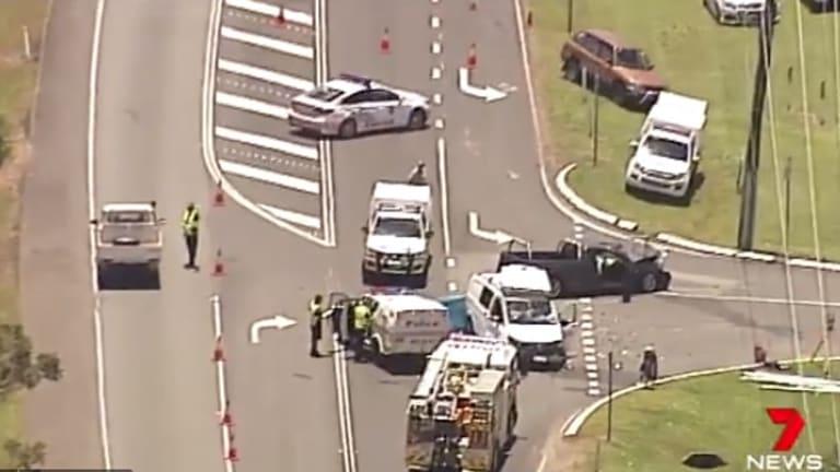 The crash scene outside Australia Zoo on Steve Irwin Way at Beerwah.