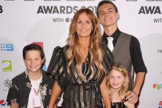 Kasey Chambers with children Arlo (left), Poet (right) and Talon (second, right) at the 2018 ARIA Awards, where she was inducted into the Hall of Fame.