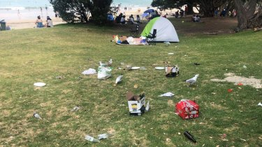 The family's were accused of leaving rubbish at Takapuna Beach after their visit.