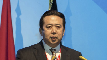 In 2016, then-China's Vice Minister of Public Security Meng Hongwei delivers a speech in Indonesia.