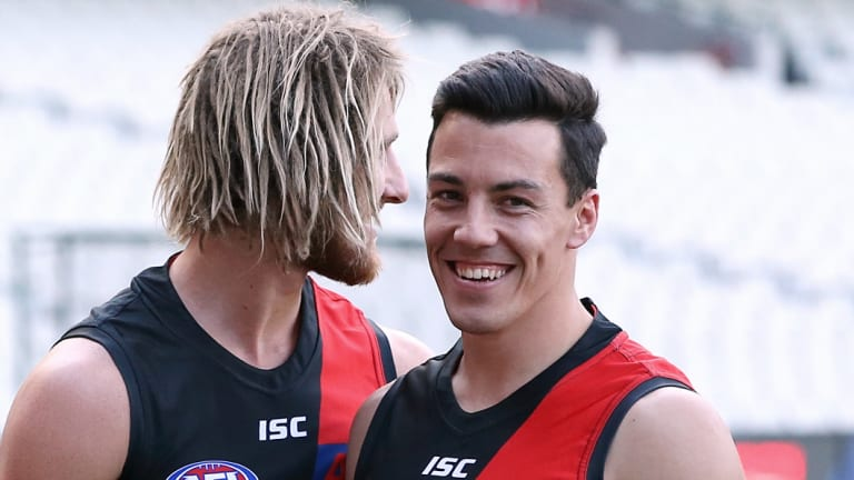 Dyson Heppell with Dylan Shiel at the MCG.