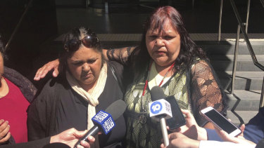 Francina Wynne and Jennifer Loo, mother and aunty of Kyrone Eades, speak to media outside court.