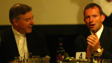 Cardinal George Pell with then federal health minister Tony Abbott at the 2004 Catholic Administrator Conference.