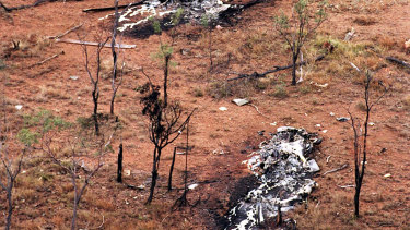 The crash site of the two Black Hawk  helicopters near Townsville.