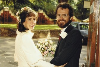Rod Sims and Alison Pert on their wedding day in 1984.