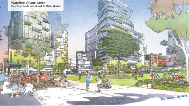 An artist's impression for one of the options of the redevelopment, the Waterloo Village Green.