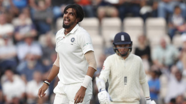 Packing: India's Ishant Sharma celebrates after dismissing England's Adil Rashid.