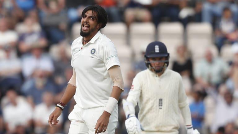 Packing: India's Ishant Sharma celebrates after dismissing England's Adil Rashid.