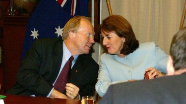 Then-corrective services minister Judy Spence with then-premier Peter Beattie in 2005.