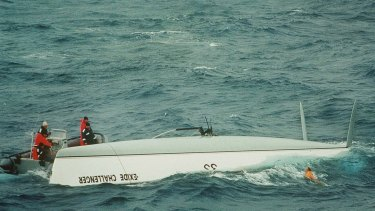 Tony Bullimore emerges from his upturned yacht in the Southern Ocean in 1997.