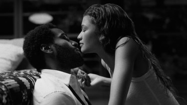 John David Washington as Malcolm and Zendaya as Marie in Malcolm & Marie.