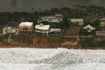 Erosion at Wamberal Beach on Friday morning.