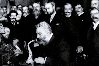 Alexander Graham Bell, inventor of the telephone, opens long-distance service between New York and Chicago in 1892.