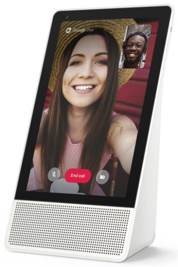 For video calls, the display can sit in landscape of portrait orientations.
