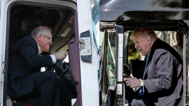 Prime Minister Scott Morrison in a truck on Thursday morning and US President Donald Trump earlier this year.