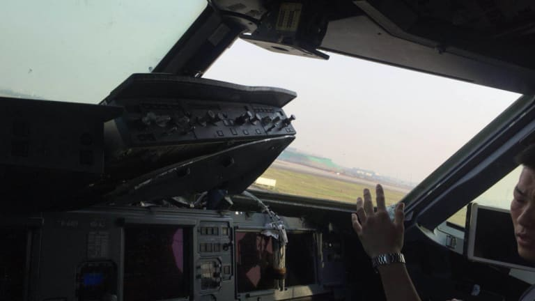 The view of the cockpit after the incident.