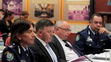 Then Deputy Commissioner of NSW Police Catherine Burn (left) and then Deputy Commissioner of NSW Police Nick Kaldas (right) at NSW Parliament in 2012.