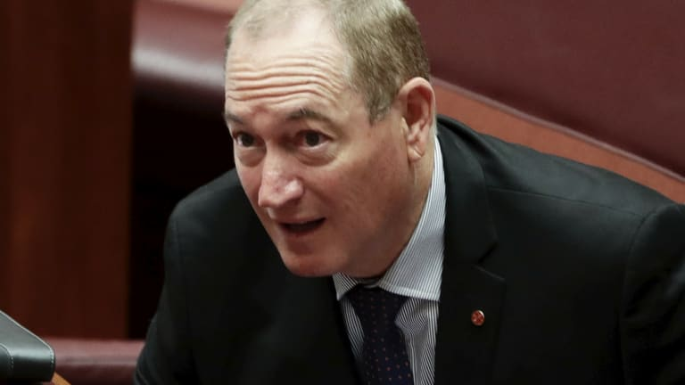 Senator Fraser Anning during debate in the Senate.