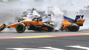 The crash happened early in the Belgian Grand Prix.