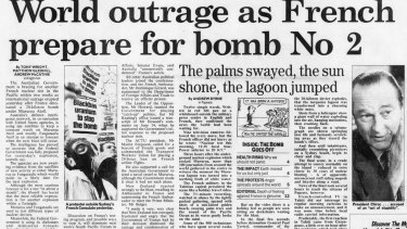 The Sydney Morning Herald coverage of the decision by Jacques Chirac to resume nuclear testing in the Pacific in 1995.