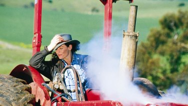 Lisa Chappell on the set of McLeod's Daughters.