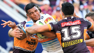 Moeaki Fotuaika of the Titans during the Round 13 NRL match against the Broncos at Suncorp Stadium in June.