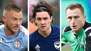 Melbourne-based A-League players Scott Jamieson, Marco Rojas and Besart Berisha.