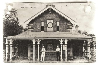 The Post Office in Moama, with postmaster Albert Archer on the left.
