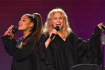 On stage in Chicago with Ariana Grande in 2019 singing No More Tears (Enough is Enough).