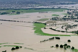 Aerial stills show floodwaters in the town of Yallourn.