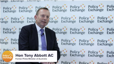 Tony Abbott speaking at the Policy Exchange think tank in central London.