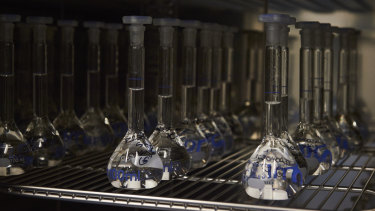 Test tubes set up to measure the release rate of the drug naltrexone, which blocks opioid cravings, at Go Medical Industries in Subiaco.