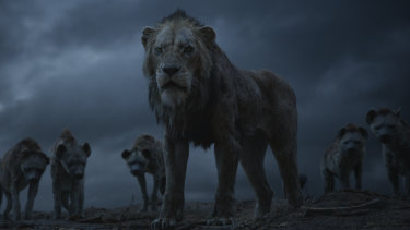 Real scary: Chiwetal Ejiofor is the voice of Scar (centre) and Florence Kasumba, Eric Andre and Keegan-Michael Key voice the hyenas  in The Lion King.