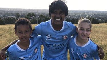 City kids: (L-R) Chase Natai (Pakenham United), Matthew Monet (Keysborough SC) and Sienna Spicuzza (Berwick SC) will be in Melbourne City's fan zone