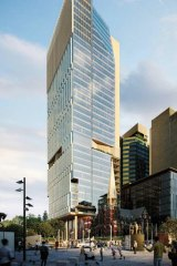 The proposed new development design at 343 Albert Street removes the glass chamfer at the base of the tower entirely.