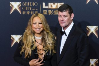 Packer with his then fiancee Mariah Carey at the opening of the Melco Crown\'s Studio City complex in Macau.