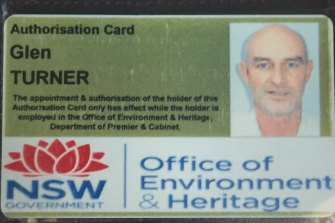 Turner's staff identity card for the job that led to his death.