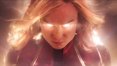 Brie Larson as superhero Captain Marvel.