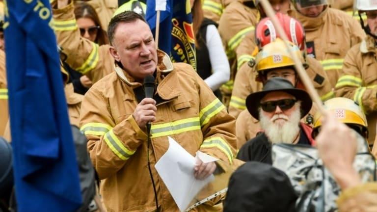 UFU secretary Peter Marshall speaking at a 2016 recent rally.
