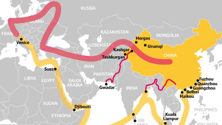 A map showing China's One Belt, One Road strategy, where yellow is to be the new maritime route and red the new land connections.