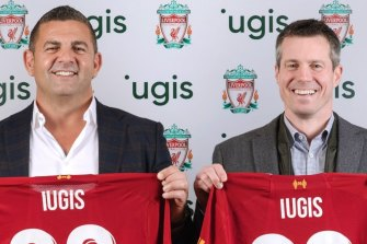 Forum Group CEO Bill Papas [left] announcing the partnership between his waste company iugus and Liverpool Football Club.