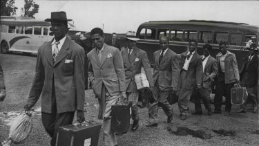 Jamaican immigrants arrive for their first night in London after disembarking from the Empire Windrush.