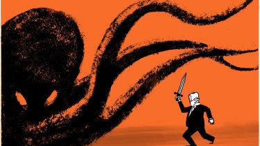 PM Scott Morrison is standing up to online evil. Illustration: Andrew Dyson