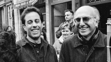 Jerry Seinfeld and Larry David on set during filming of the last Seinfeld episodes in 1998.