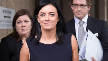 Emma Husar leaves the Federal Court in Sydney on Friday.