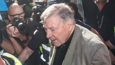 Cardinal George Pell attends the County Court in Melbourne for a pre-sentencing hearing on Wednesday.