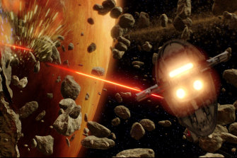 Jango Fett's Slave I fires its laser cannons at Obi-Wan Kenobi's Jedi starfighter in a scene from Star Wars Episode II: Attack of the Clones.