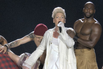 Pink on stage.
