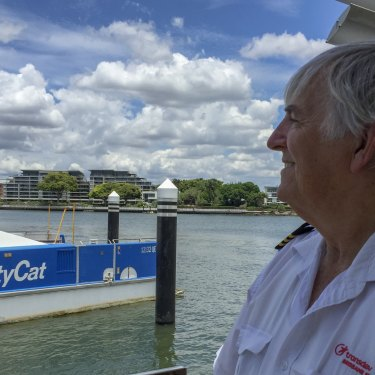 Brisbane Ferry Master Paddy Wills at Hawthorne Ferry Terminal, his home working base for many years.